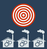 Plant vector icon, gears. Target business concept royalty free illustration