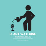 Plant Watering With Watering Can vector illustration