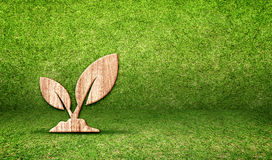 Plant wood icon in grass room,Eco concept Royalty Free Stock Photo