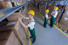 Plant workers in warehouse royalty free stock image