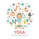 Plant yogarundabegrepp stock illustrationer