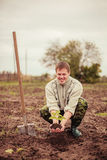 Plant. The young man plants a tree royalty free stock photo