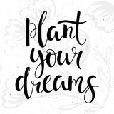 Plant your dreams - motivational poster. Royalty Free Stock Photography