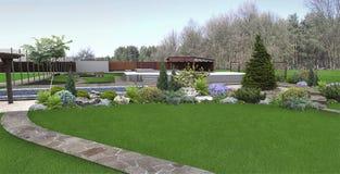 A plantação do quintal das hortaliças, 3d rende ilustração do vetor