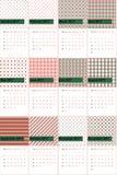 A plantação e o damasco vermelho coloriram o calendário geométrico 2016 dos testes padrões ilustração do vetor