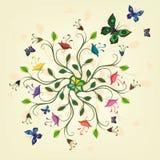 Planta abstracta con las flores y las mariposas Imágenes de archivo libres de regalías