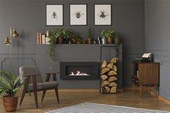 Planta al lado de la butaca gris en interior caliente del apartamento con el fuego imagen de archivo