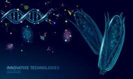 Planta alterada gene do milho de GMO Genética da biologia da química da ciência que projeta a tecnologia de alimento orgânica 3D  ilustração royalty free