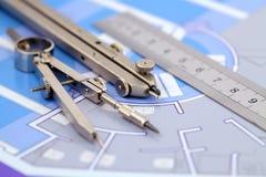 Planta & ferramentas da arquitetura Fotos de Stock