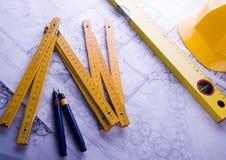 Planta & ferramentas da arquitetura Fotografia de Stock Royalty Free