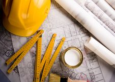 Planta & ferramentas da arquitetura Fotos de Stock Royalty Free