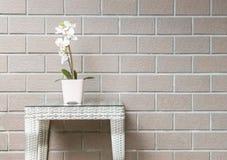 Planta artificial del primer con la flor blanca de la orquídea en la maceta rosada en la tabla de madera de la armadura en backg  Fotografía de archivo