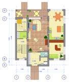 Planta colorido de 1 assoalho da casa Imagens de Stock