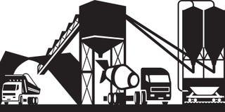 Planta concreta con los camiones Imagen de archivo