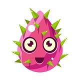 Planta cor-de-rosa Bud With Spikes, caráter fantástico bonito oval com ícone grande de Emoji do vetor dos olhos ilustração royalty free