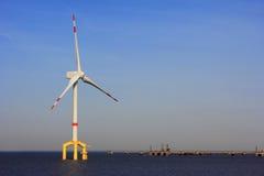 Planta costa afuera de la energía eólica Foto de archivo libre de regalías