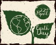 Planta creciente con el mensaje del Día de la Tierra en el estilo del bosquejo, ejemplo del vector Fotos de archivo libres de regalías