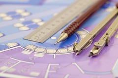 Planta da arquitetura de ferramentas do interior & do trabalho Imagens de Stock Royalty Free