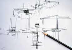 Planta da arquitetura do desenho da mão do esboço com lápis Fotos de Stock Royalty Free