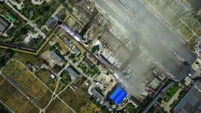 Planta da indústria pesada com construções de fabricação Vista aérea do central elétrica video estoque