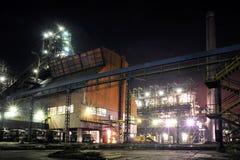 Planta de aço na noite Fotografia de Stock