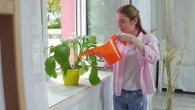Planta de colada de la muchacha con la poder del agua metrajes