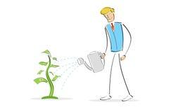 Planta de dinheiro molhando do homem ilustração do vetor