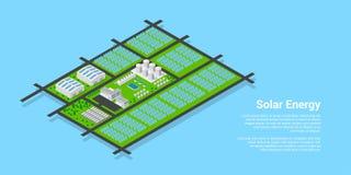 Planta de energía solar isométrica