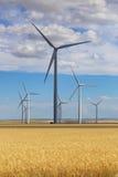 Planta de energia gigante do poder da turbina eólica em Montana Fotografia de Stock Royalty Free
