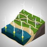 Planta de energias eólicas Ilustração do Vetor