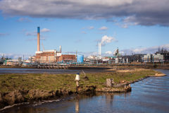 Planta de fábrica química de proceso Foto de archivo libre de regalías