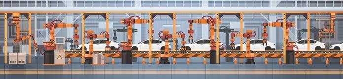 Planta de fabricación automática del transportador de la producción del coche concepto de la industria de la automatización indus libre illustration