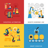 Planta de fabricación industrial 4 iconos planos Imágenes de archivo libres de regalías