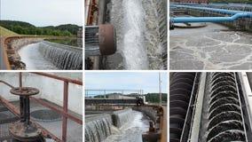 Planta de la limpieza de las aguas residuales de las aguas residuales waterworks Collage video almacen de video