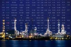 Planta de la refinería de petróleo, índice del precio de las acciones del petróleo crudo foto de archivo