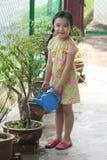 Planta de riego de la muchacha Fotos de archivo libres de regalías