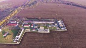 Planta de tratamiento del gas del gas Planta del tiroteo de Dron metrajes