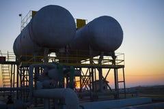 Planta de tratamiento del petróleo y gas Foto de archivo libre de regalías