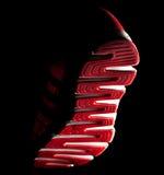 Planta del pie de la zapatilla de deporte, vista de un pie que cae de debajo Fotos de archivo libres de regalías