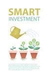 Planta do dólar no potenciômetro e na lata molhando Conceito financeiro do crescimento Investimento esperto Ilustração do vetor Fotografia de Stock