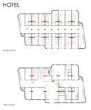 Planta do desenho do hotel Imagens de Stock Royalty Free