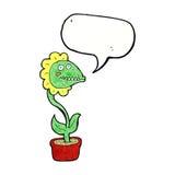 planta do monstro dos desenhos animados com bolha do discurso Foto de Stock Royalty Free