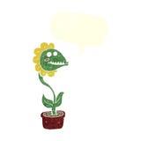 planta do monstro dos desenhos animados com bolha do discurso Imagem de Stock Royalty Free