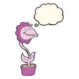 planta do monstro dos desenhos animados com bolha do pensamento Imagem de Stock Royalty Free