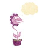 planta do monstro dos desenhos animados com bolha do pensamento Foto de Stock