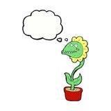 planta do monstro dos desenhos animados com bolha do pensamento Foto de Stock Royalty Free