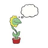 planta do monstro dos desenhos animados com bolha do pensamento Fotos de Stock Royalty Free