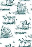 A planta do teste padrão do vetor grava flores de cesta da tinta ilustração stock