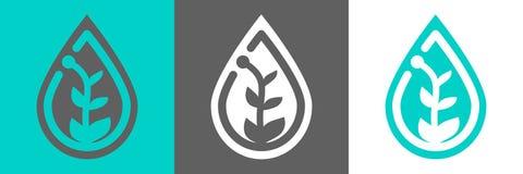 Planta en icono del waterdrop stock de ilustración