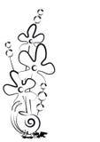 Planta floreciente y un caracol. Fotos de archivo